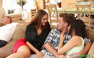 Miss Raquel enjoying some hot threesome with her stepdaughter and her BF