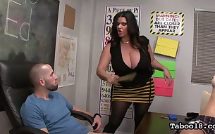 Lust crazed voluptuous sex professor Angelina Castro gives good head