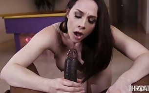 Dark haired nympho with big boobs Chanel Preston loves to suck fat black dick
