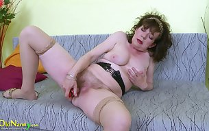 Horny old mature slut Hana loves to play with herself when she's alone