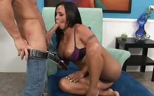 Kinky busty brunette Mariah Milano is happy to get her feet teased