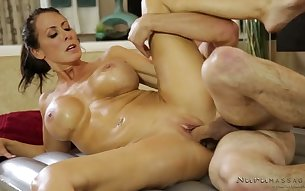Oiled eye-catching Reagan Foxx is hot masseuse who wanna ride dick