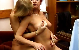 Lusty lesbos Cynthia and Sophia gonna use a dildo during masturbation