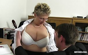 Hardcore office group sex with mature nerdy secretaries