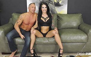Horny mature man gets lucky with tattooed babe Katrina Jade