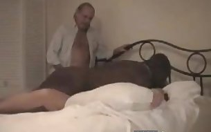 Very old white couple hires a big black dude to have an interracial cuckold with them.
