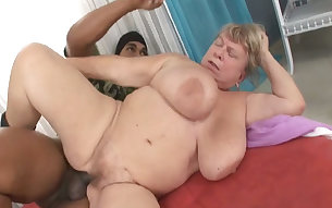 BBW granny boned bad in her hairy pussy in a doggy position