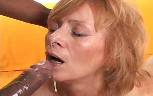 Three black studs fucks slutty Caucasian granny brutally