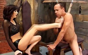 BDSM hot games of a mature bitch and chubby bald dude