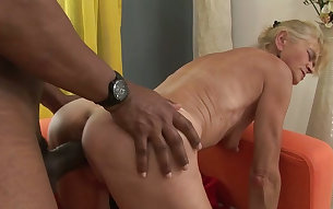 Old and skinny fair haired granny gets doggy fucked by black boy
