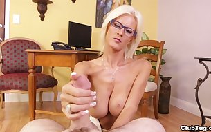 Blonde mature Olivia Blu with glasses pleasures one rock hard dick