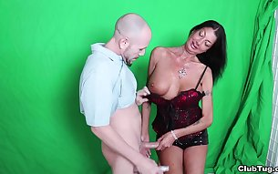 Brunette slut with pierced nipples undressing and jerking off a dude
