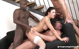 Mature whore Billie Star gnabanged and cum covered by black dudes