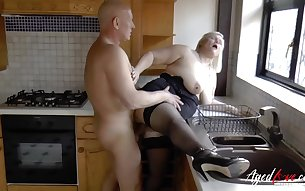 Busty mature pornstar Lacey Starr enjoying wild hradcore fuck with baldy