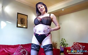 Hot european mature babe is playing alone with her pussy and toys