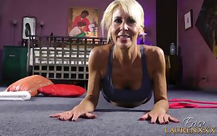 Erica Lauren loves taking off her her clothes during a yoga workout