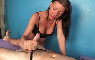 Erotic massage ends with perfect handjob