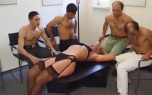 European mature lady is fucked on an orgy party