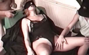 Mature German white whore blindfolded and teased with dicks