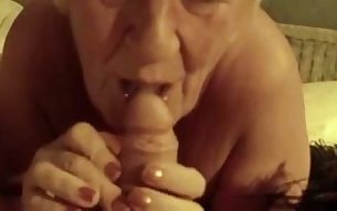 Silver haired woman sucking my dick like tasty lollipop