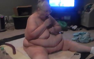 Perverted awful chubby and nerdy old bitch played with her sex toy