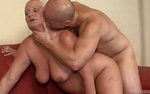 Mature granny is thrilled to be ass fucked by a college dude's cock