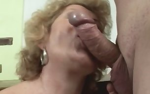 Granny is a filthy whore who wants cum to be dripping out of her hairy cunt