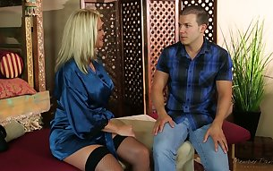 Bored of nonstop talking dude Maya Devine finally shuts him up with a good BJ