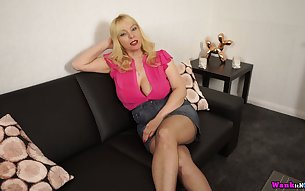 Lewd blond head with big boobs Lucy Gresty loves to tease her own cunt