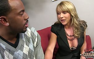 Fine mature white blondie eagerly sucks huge black dick on the couch