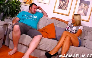 Fat fuck seduces a mature woman and fucks her on the couch