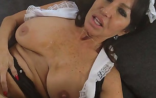 Extremely phat European housemaid Tara Holiday gets wild with black landlord on sofa