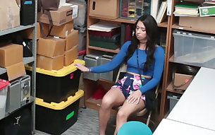 Filthy black haired GF Taylor May is gonna get naughty with her buddy in the storage