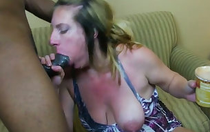 Pregnant mature woman Reina Red gets herself a big black cock
