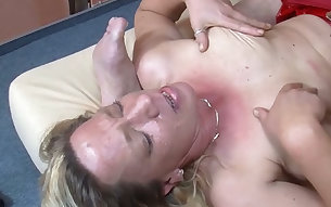 Mature blond fuck doll in sexy latex skirt shows off her great oral skills to hungry guy