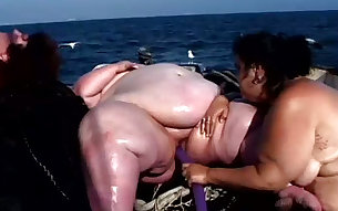 Huge sweaty fatties perform nasty lesbian 4 some on the boat