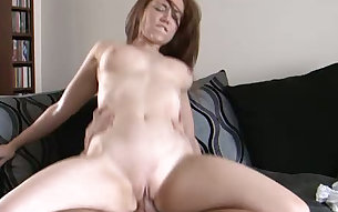 Red haired hungry coed bounced on stiff sausage of her mature BF ardently