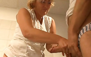 Mature granny fucks feisty in the bathroom in dirty porn video