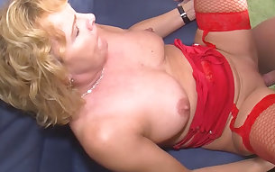 Mature mom in red fishnet stockings sucking big dick balls deep