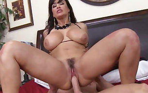 Whorish and kinky brunette chick takes dick in her sexy pussy and in her mouth