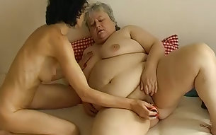 Skinny black haired granny in lesbian scene with old obese BBW bitch
