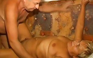 Fat lusty granny gets her hairy cunt licked and fucked missionary style