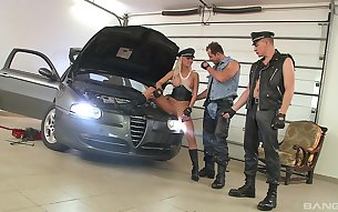 Ellen Peterson fucked by two mechanics in merciless modes