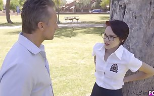 Nerdy girl in glasses Cadey Mercury gets spanked and fucked by horny stepdad