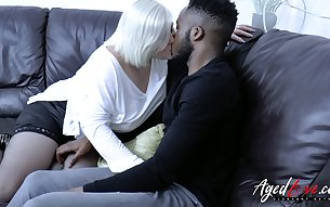 Blond chubby granny Lacey Starr gives a blowjob and gets her pussy blacked