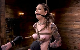 Slender inked cutie Rocky Emerson loves getting abused and tied up