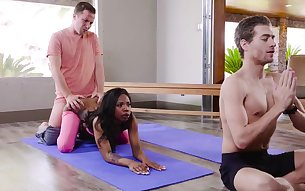 Double trouble during the yoga lesson for slutty Sarah Bank