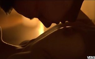 Blindfolded girl enjoys sensual oral foreplay