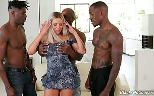 Wild and bootyful German blonde whore Nina Elle loves interracial gang bang