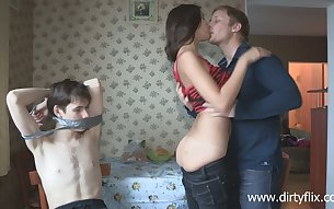 Tied up lewd cuckold watches shameless bitch Dusya being fucked on the table